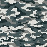 Military camouflage seamless pattern, gray. Vector illustration Fototapety do Pokoju Nastolatka Fototapeta