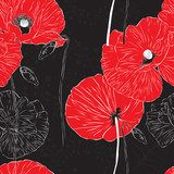 Seamless bright background with flowers Fototapety Maki Fototapeta