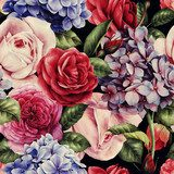 Seamless floral pattern with roses, watercolor. Tapety Kwiaty Tapeta
