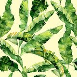 Seamless watercolor illustration of tropical leaves, dense jungle. Pattern with tropic summertime motif may be used as background texture, wrapping paper, textile,wallpaper design. Banana palm leaves Tapety Natura Tapeta