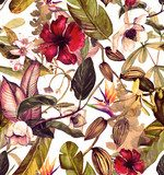 Seamless watercolor pattern with tropical flowers, magnolia, orange flower, vanilla orchid, tropical leaves, banana leaves Tapety Kwiaty Tapeta