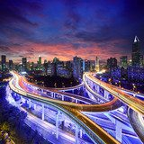 Shanghai highway view at sunset Plakaty do Salonu Plakat