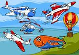 planes aircraft group cartoon illustration Fototapety do Pokoju Chłopca Fototapeta