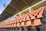 Stadium Orange Chair with roof and blue sky  Stadion Fototapeta