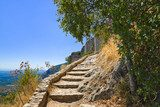 Stairs to old fort in Mystras, Greece  Schody Fototapeta