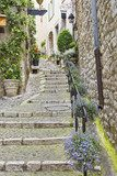 Street in the medieval city of Saint Paul de Vence, France  Schody Fototapeta