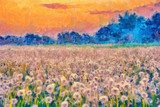 Summer meadow blow balls landscape painting Van Gogh Obraz