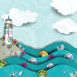 Lighthouse on the sea decorated Styl Marynistyczny Fototapeta