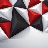 Black, red and white geometric background. 3D Fototapeta