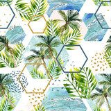 Watercolor tropical leaves and palm trees in geometric shapes seamless pattern Abstrakcja Fototapeta