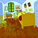 "Van Gogh's bedroom. Digital reproduction of Van Gogh's painting ""Bedroom in Arles"" (1888). Post-impressionism style. Vector. Van Gogh Obraz"