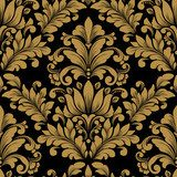 Vector damask seamless pattern element. Classical luxury old fashioned damask ornament, royal victorian seamless texture for wallpapers, textile, wrapping. Exquisite floral baroque template. Styl Barokowy Tapeta