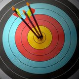 Arrow hit goal ring in archery target  Sport Fototapeta
