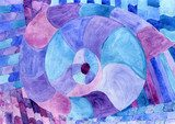 Watercolor Nautilus Picasso in blue. Sea theme watercolor. Sea Picasso. Picasso Obraz