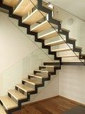 Well designed wood and glass stairs  Schody Fototapeta