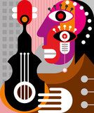Woman playing guitar - vector illustration Picasso Obraz