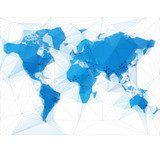 World Map Illustration with largest cities in the world  Mapa Świata Fototapeta