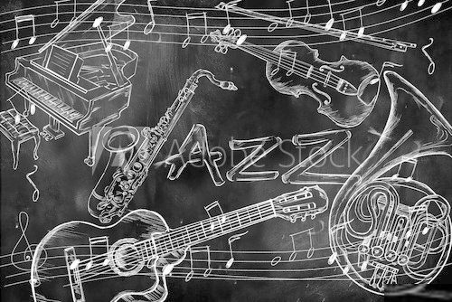 Jazz instruments music background  Muzyka Obraz