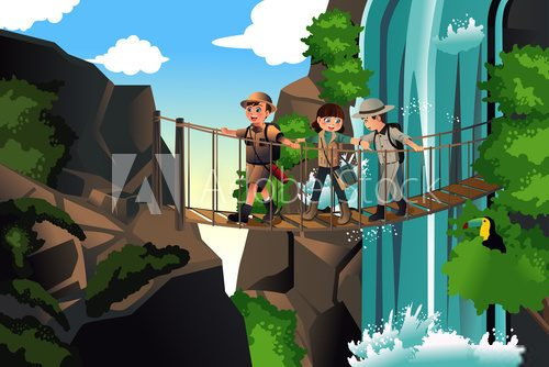 Kids on an adventure trip  Plakaty do Pokoju dziecka Plakat