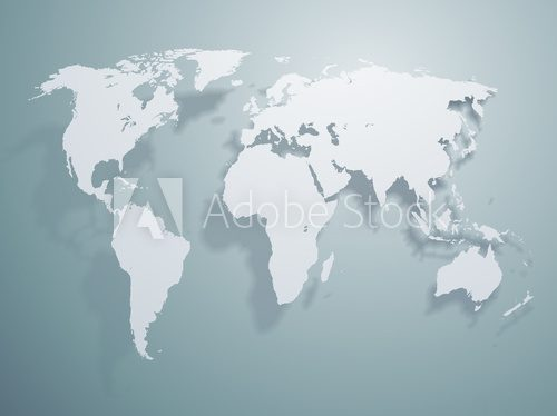 Vector World map  Mapa Świata Fototapeta