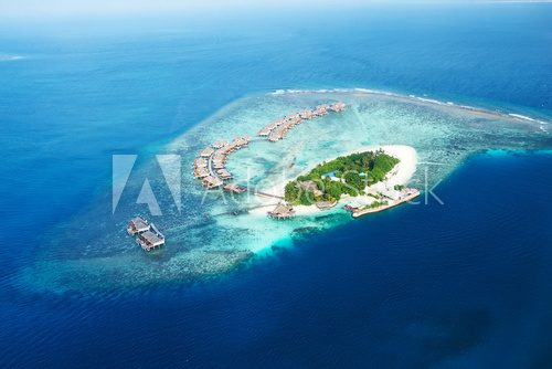 Atolls and islands in Maldives from aerial view  Krajobraz Fototapeta