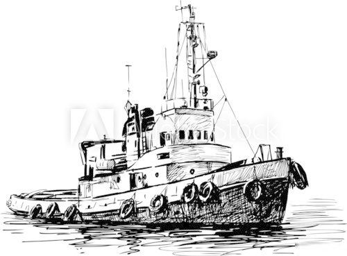 industrial boat  Drawn Sketch Fototapeta