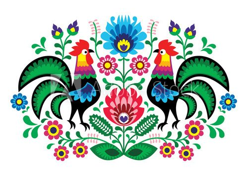 Polish floral embroidery with cocks - traditional folk pattern  Folklor Fototapeta