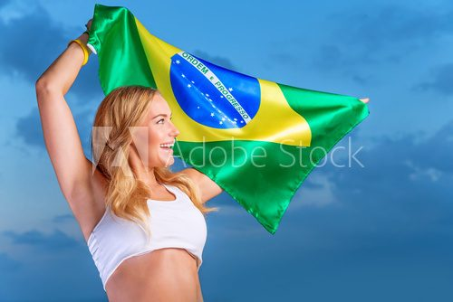 Happy fan of Brazilian football team  Sport Plakat