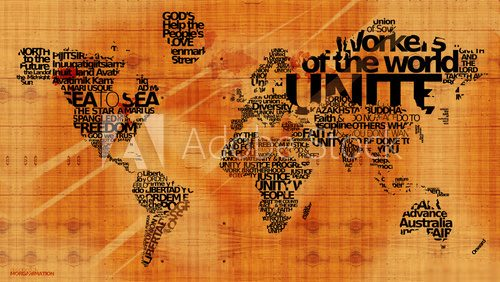 World united nations motos message wood map word tag cloud  Mapa Świata Fototapeta