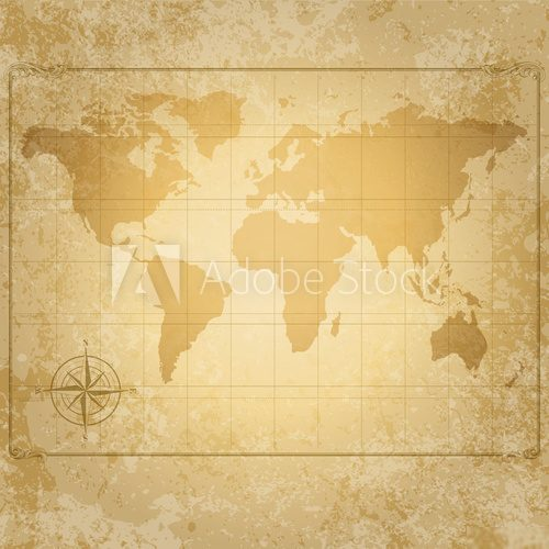 vintage vector world map with compass  Mapa Świata Fototapeta
