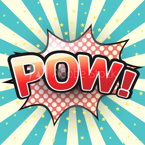 Pow, Comic Speech Bubble. Vector illustration.  Fototapety Komiks Fototapeta