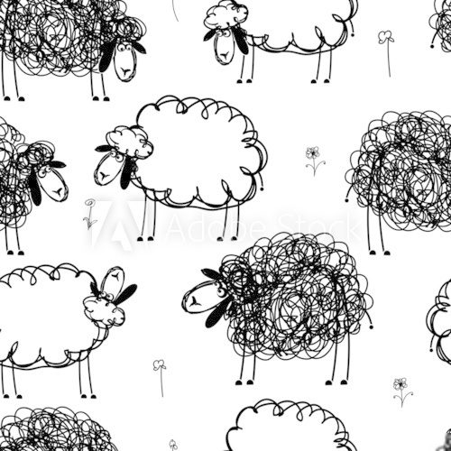 Black and white sheeps on meadow, seamless pattern for your