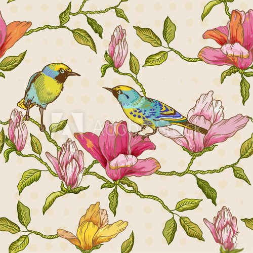 Vintage Seamless Background - Flowers and  Birds  Salon Plakat