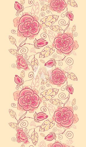 Vector floral line art vertical seamless pattern ornament with  Na drzwi Naklejka