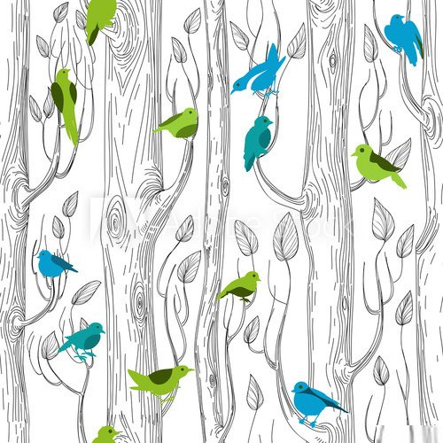 Trees and birds seamless pattern  Na laptopa Naklejka