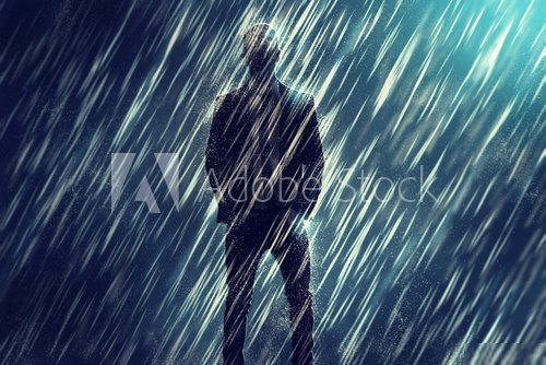Mysterious Man in the Rain  Ludzie Obraz