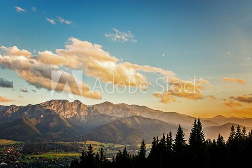 View on panorama of Tatras at sunset, Poland.  Krajobraz Fototapeta