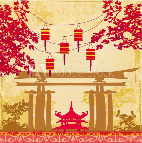 Chinese New Year card - Traditional lanterns and Asian buildings  Orientalne Fototapeta
