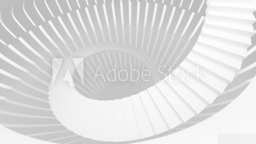 White spiral stairs in abstract round interior. 3d illustration  Schody Fototapeta