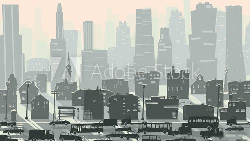 Abstract childish illustration of big city with cars.  Fototapety Miasta Fototapeta