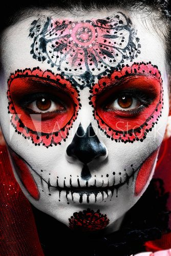 halloween make up sugar skull  Ludzie Plakat