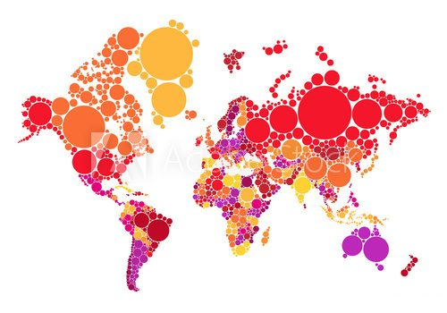 abstract dot world map with countries, vector  Mapa Świata Fototapeta