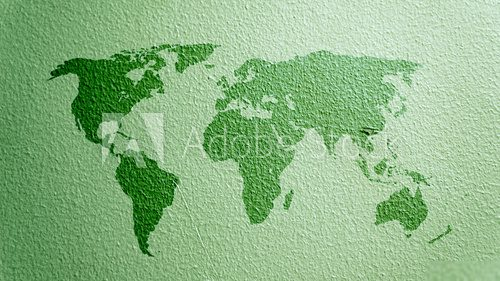 world map on green cement texture  Mapa Świata Fototapeta