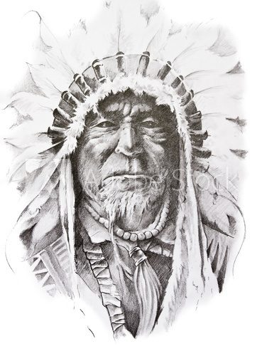 Tattoo sketch of Native American Indian chief, hand made  Drawn Sketch Fototapeta