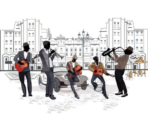 Series of street views with musicians  Muzyka Obraz