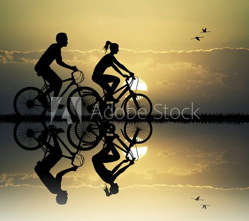 couple on bike  Fototapety do Klubu Fitness Fototapeta