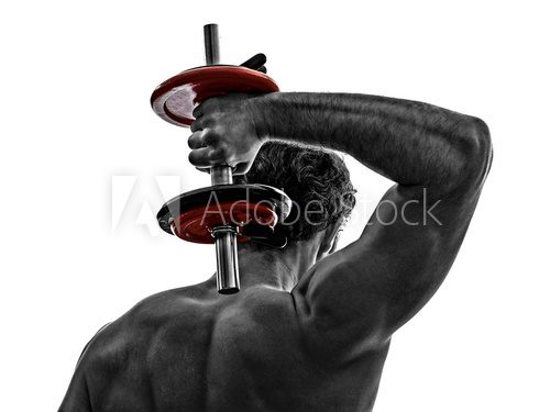 man weights body builders training  exercises  Fototapety do Klubu Fitness Fototapeta