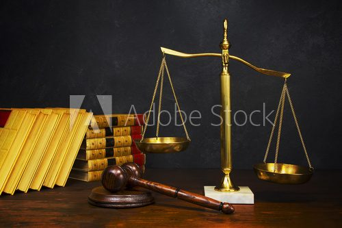 Scales of Justice with gavel  Biuro Plakat