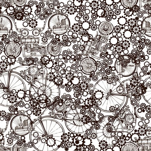 Seamless pattern Steampunk with old bikes and gears. Template steampunk design for card. Steampunk style. Industrialne Fototapeta