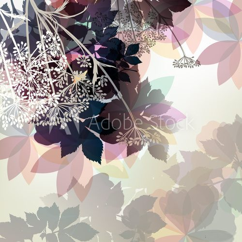 Floral background in pastel colors and spring plants Abstrakcja Obraz